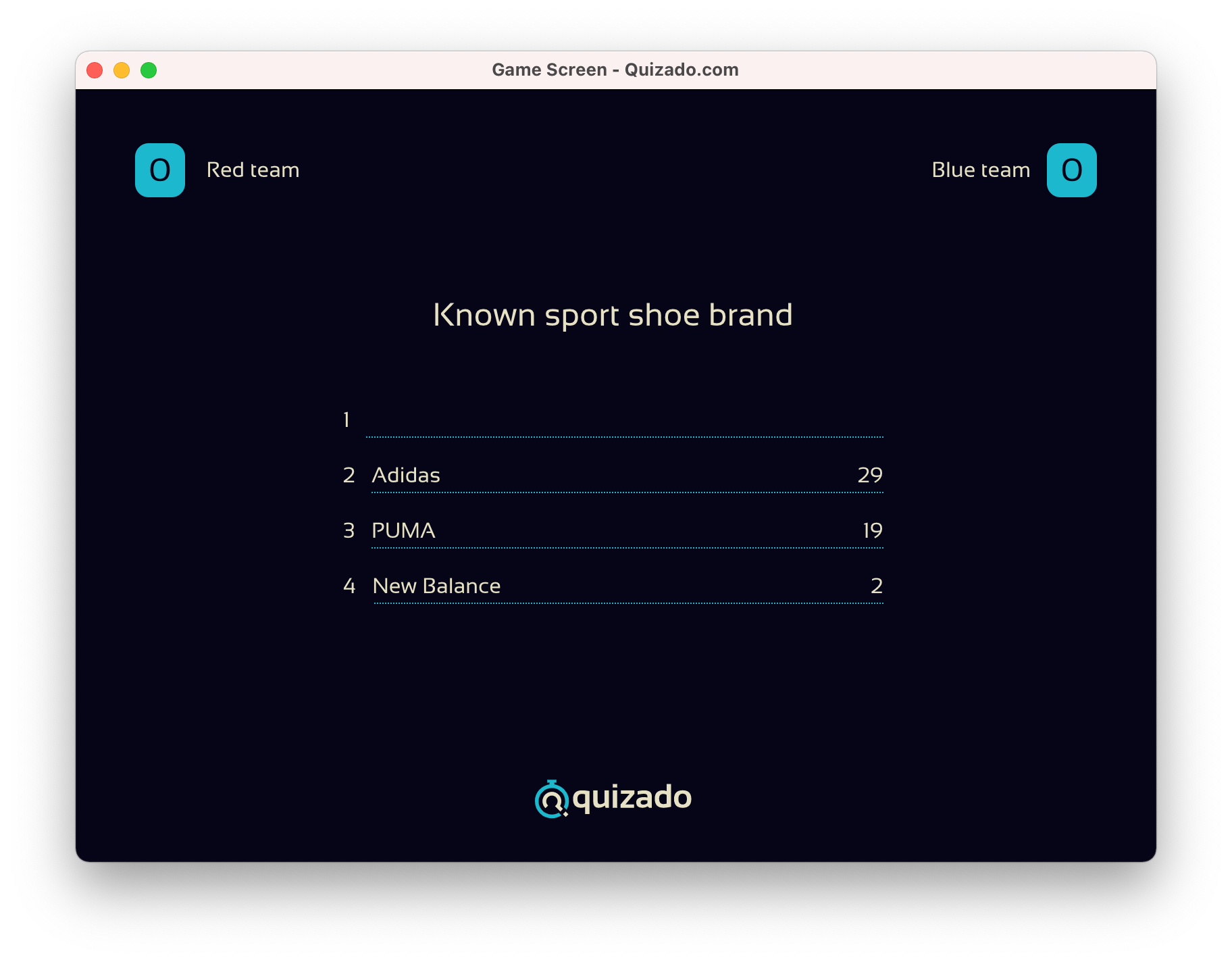 Quizado - Game Screen